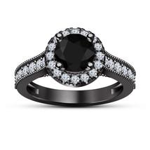 Black Diamond Womens Wedding Engagement Ring 14k Black Over 925 Sterling... - $72.99