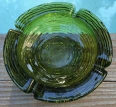 """Vintage Ashtray Collector Soreno Glass 6 1/4"""" Avocado Green Anchor Hocki... - $17.13"""