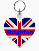 keyring double sided heart,brighton on union flag design, keychain