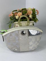 Coach Cosmetic Bag Patchwork White Metallic 42480 Zip Canvas Leather M4 - $78.39