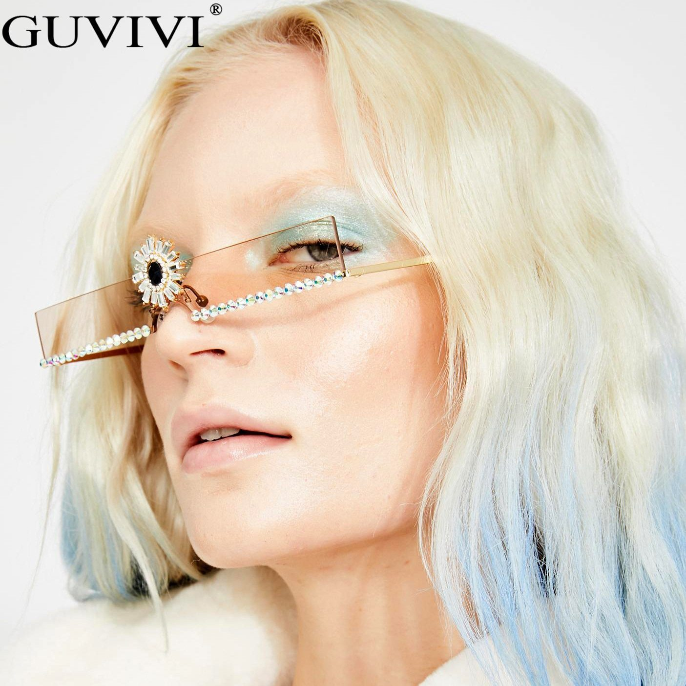 S women fashion steampunk rhinestone sunglasses crystal rimless vintage sunglasses eyewear oculo