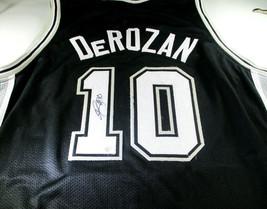 DEMAR DEROZAN / AUTOGRAPHED SAN ANTONIO SPURS BLACK CUSTOM JERSEY / COA - $143.50