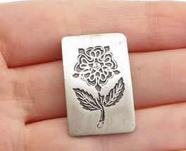 925 Sterling Silver - Vintage Two Tone Etched Flower Square Pendant - P1... - $24.36