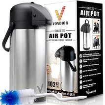 Airpot Coffee Carafe - Thermal Beverage Dispenser (102 oz.) By Vondior. ... - $46.07