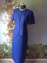 Le Suit Petite Short Sleeve Blue Skirt Suit Jacket Size 10P - $31.52