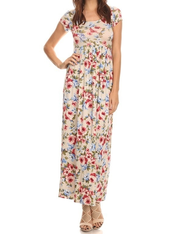 Cream Floral Maxi Dress, Short Sleeve Maxi Dress, Multicolor Floral Dress