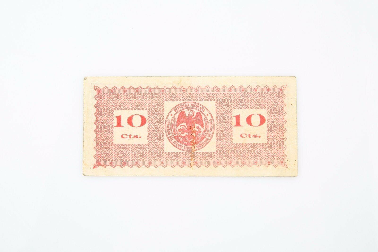 1913-1914 México 10 Moneda AU-55 Red Estado de Sonora About que No Ha Circulado