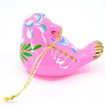 Handcrafted Painted Ceramic Pink Songbird Confetti Ornament Made in Peru image 3
