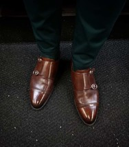 Handmade Men's Brown Double Monk Strap Dress/Formal Leather Shoes image 4