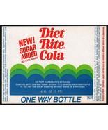 Vintage soda pop bottle label DIET RITE COLA Sugar Added new old stock n... - $7.99