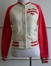 AEROPOSTALE Jacket EUC Juniors X-Small XS Coral Pink Sleeves Ivory White - $14.84
