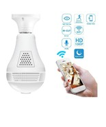 1080P WiFi HD 360 Light Bulb Camera Panoramic Home Security Spy Hidden N... - $39.55