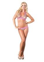 Leg Avenue Women's Net Rainbow Striped Halter Bra Top Brazilian Panty 2 Pieces