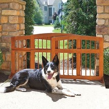 "Indoor Outdoor Eucalyptus Wood Sliding Pet Dog Gate Barrier Adjusts 32"" ... - $149.95"