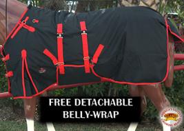 "72"" Hilason 1200D Waterproof Poly Turnout Horse Winter Belly Wrap Blanket U-R-72 - $84.99"