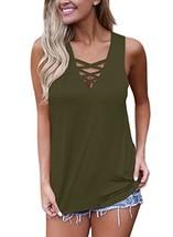 FARYSAYS Women's Summer Sleeveless V Neck Lace Up Criss Cross Cami Tank ... - $16.59