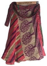 """Sari Wrap Short Skirt Reversible 22""""L 48""""W Red and Green Two sides - $24.75"""