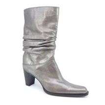 Stuart Weitzman Gold Leather Heeled Slouch Boots Womens Size 6.5 - £84.96 GBP