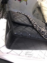 AUTH CHANEL BLACK QUILTED LAMBSKIN LEATHER MAXI CLASSIC FLAP BAG SHW image 2