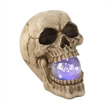 Grinning Skull With Light-up Crystal Ball - $10.90