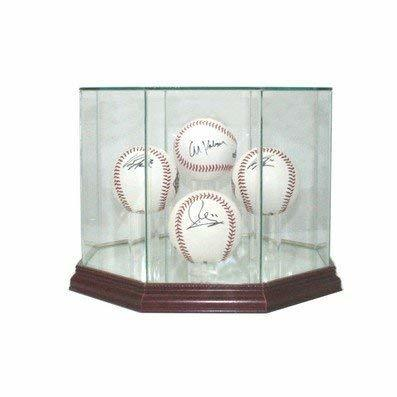 Perfect Cases Glass Baseball Display Case with Mirror - 4 Baseballs