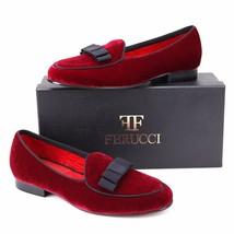 Handmade FERUCCI Men Plain Burgundy Velvet with Black Bow Slippers loafe... - $169.99