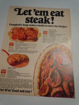 Vintage Campbell's Soup Let'em Eat Steak Print Magazine Advertisement 1968  - $5.99