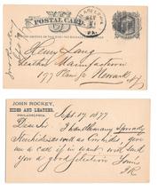 Sc UX5 1877 Philadelphia PA Fancy Cork Cancel Grid John Rockey Hides Leather - $9.95