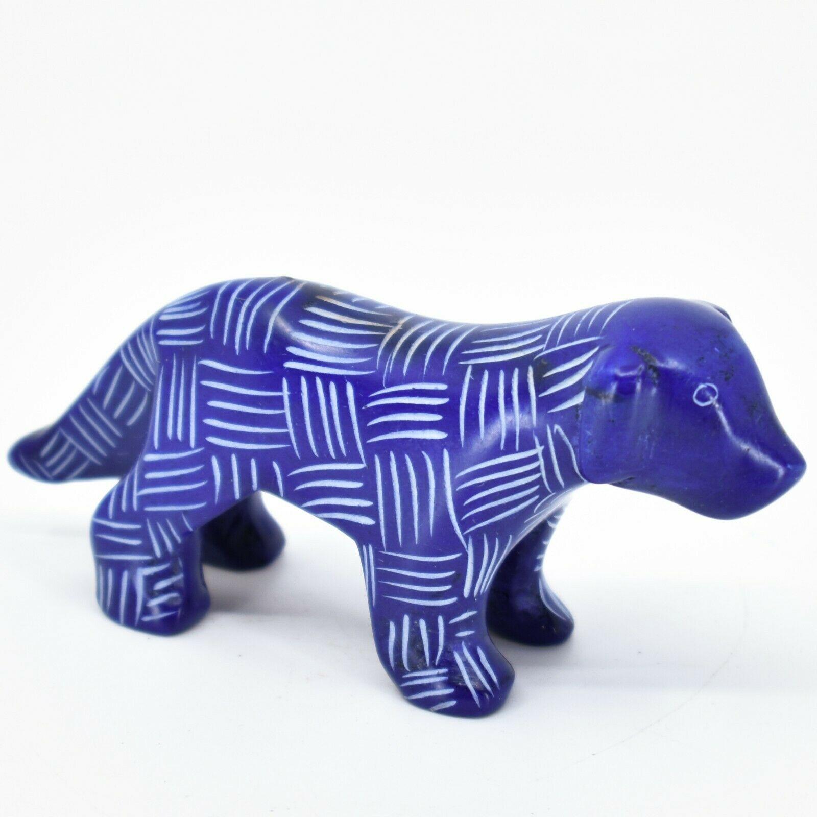 Vaneal Group Hand Carved Kisii Soapstone Dark Blue Standing Puppy Dog Figurine