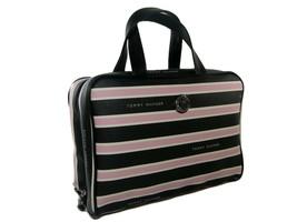 Tommy Hilfiger Logo Cosmetics Make Up Bag Travel Train Case Black Pink S... - $64.34