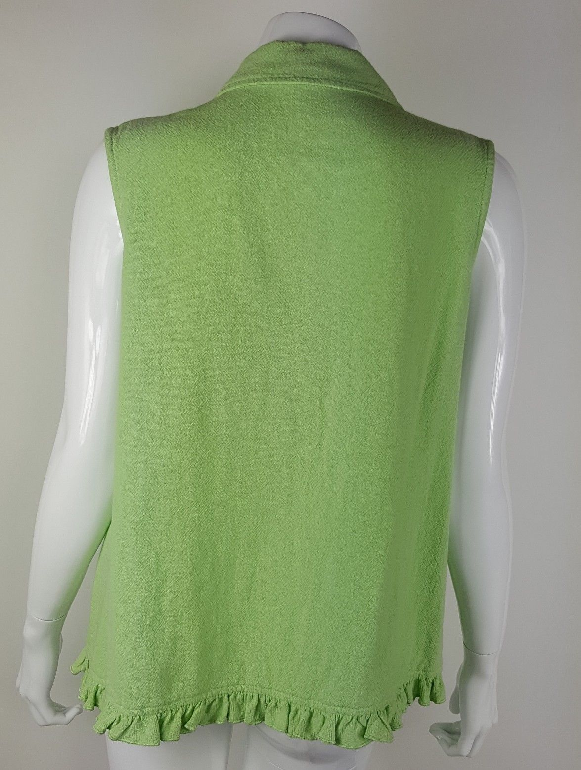 Focus Womens Medium Lime Green Button Up Tank Top Textured Cotton EUC USA Made