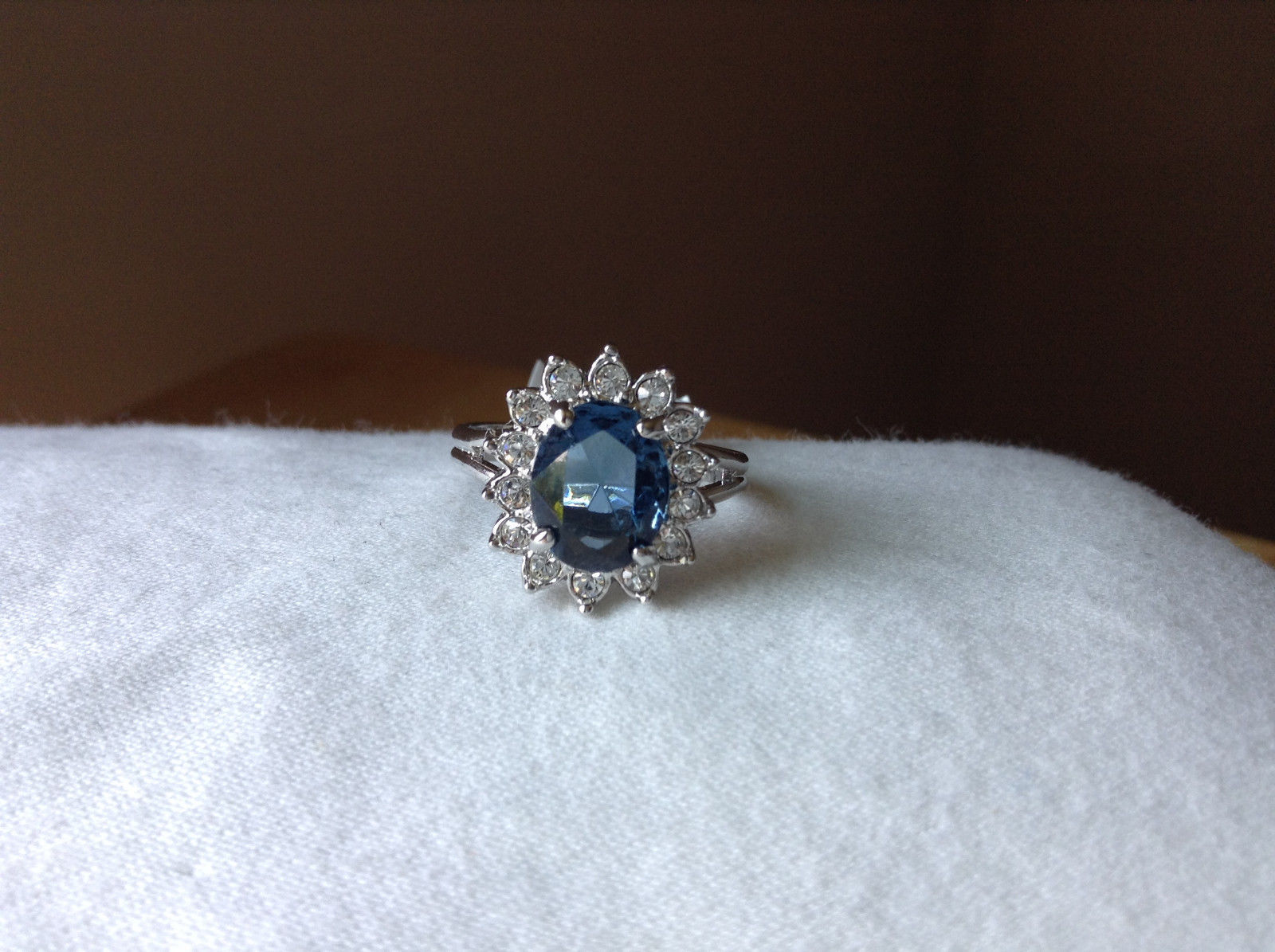 Blue CZ Stone Sunburst White Stone Border Stainless Steel Ring Size 7 and 7.75
