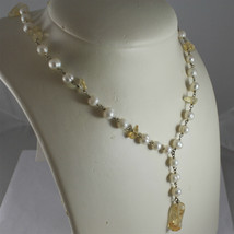.925 RHODIUM SILVER NECKLACE, SCARF,WHITE BAROQUE PEARLS, YELLOW CRACK CRISTALS. image 1