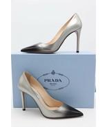 NIB PRADA Ombre Black Silver Patent Leather Pointy Toe Pump Heels 6.5 36... - $345.00