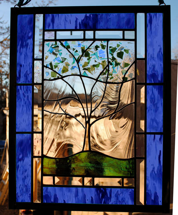 Personalized Family Tree Stained Glass Window Large Panel Dk Blue green