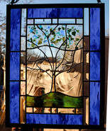 Personalized Family Tree Stained Glass Window Large Panel Dk Blue green - $198.00