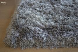 Platinum Silver Light Grey Shimmer Shag 5'x7' Area Rug Carpet Rug Solid New - $148.50
