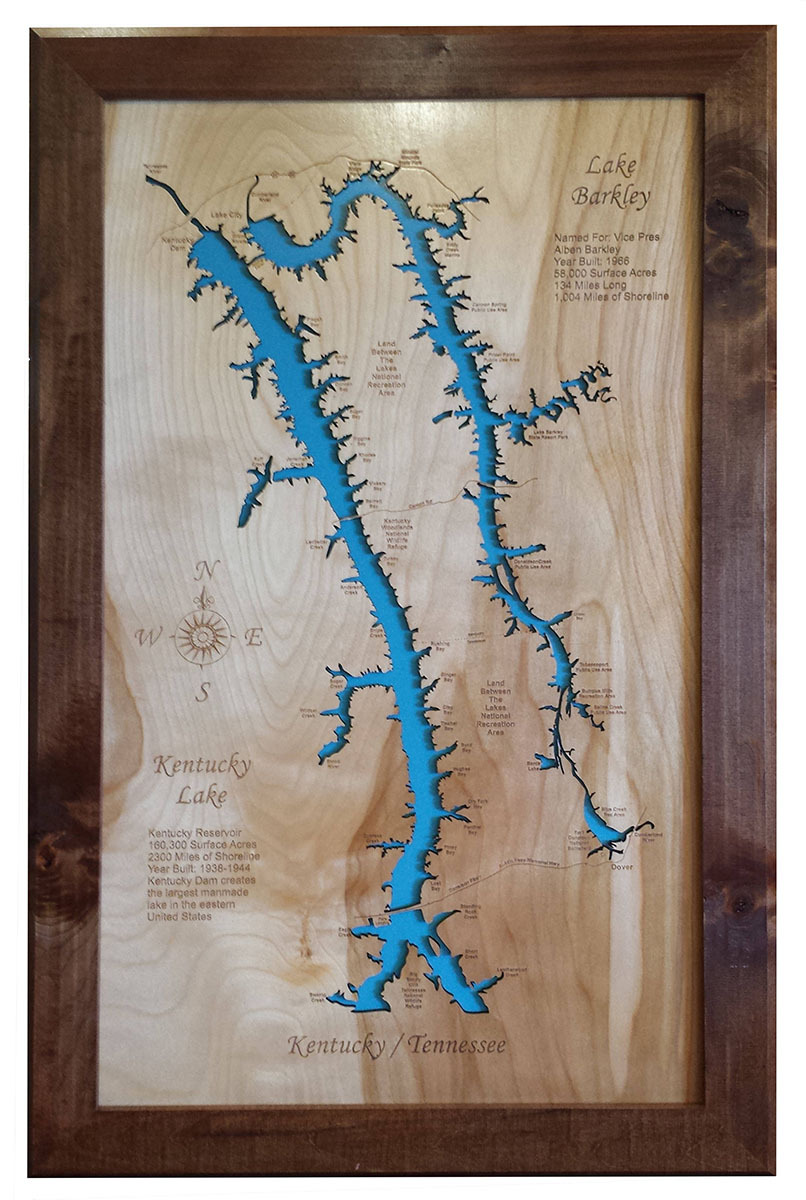 Wood Laser Cut Map Of Lake Barkley And And Similar Items - Large framed us map