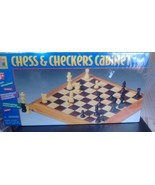Pavilion Wood Chess & Checkers Cabinet Sealed includes felted chessmen 1999 - $40.19