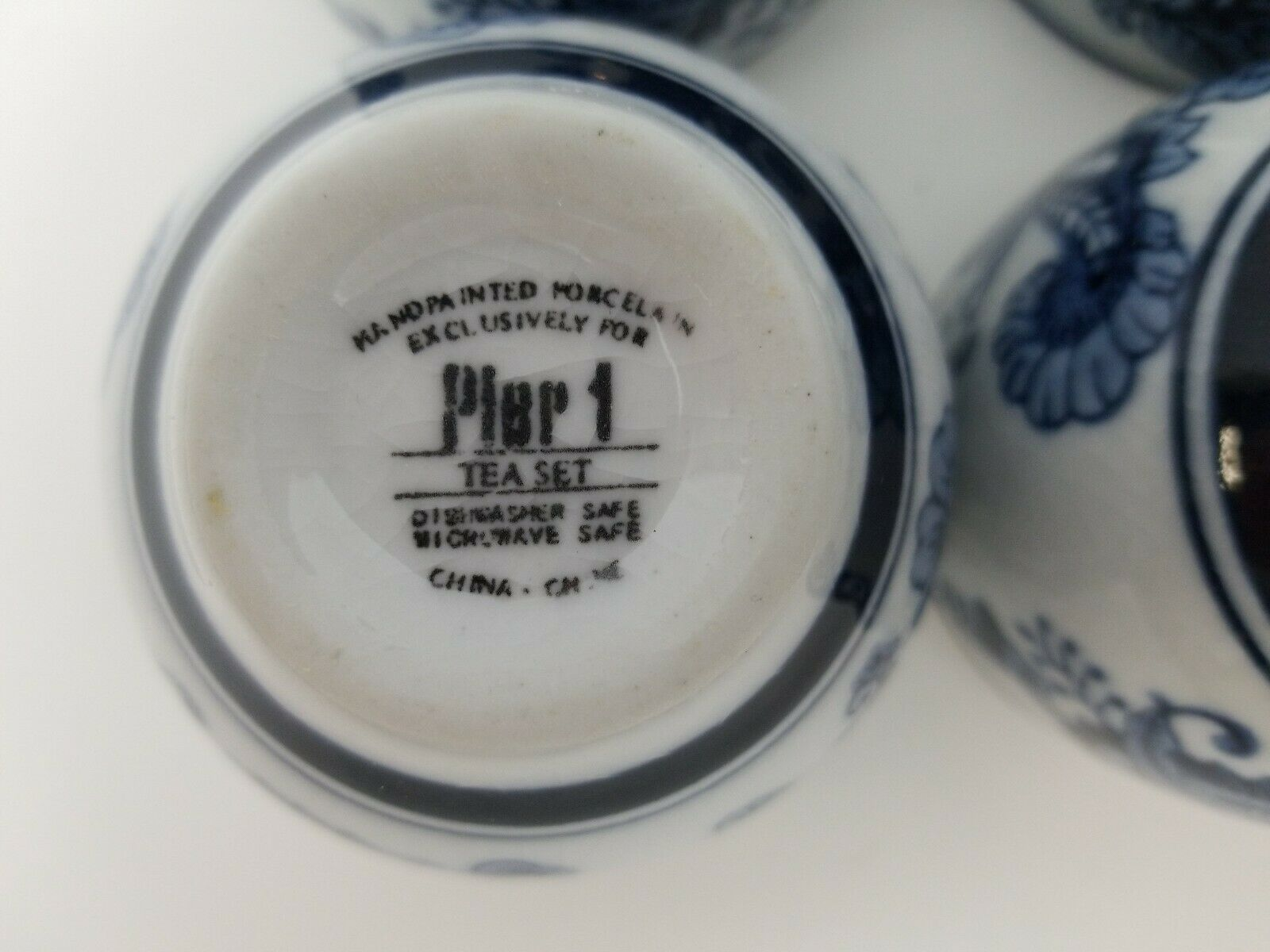 Pier 1 Imports Porcelain Tea Cups Sake Set of 4 White Blue Floral Dish Safe image 11