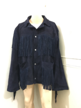 Men's New Blue Western / Cow Boy Fringes Cow Suede Leather Hippie Jacket... - $157.00+