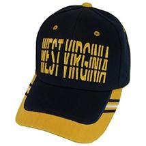 West Virginia Window Shade Font Men's Adjustable Baseball Cap (Navy/Gold) - €11,95 EUR