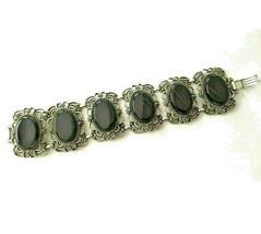 Vintage Signed Emmons Black Cab cabochon wide link Bracelet - $24.74