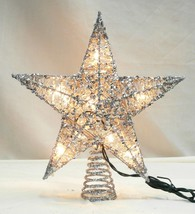 "Northlight 12"" Glittering Silver Christmas Star Tree Topper - Clear Lights - $18.50"