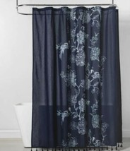 "Threshold Navy Blue Placement Floral Peacock Shower Curtain 72"" x 72"" New - $18.80"