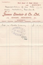 James Sinclair & Co. Ltd Moffat 1924 General Merchants Brandy Receipt Re... - $7.59