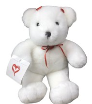 """Commonwealth Valentines Day White Teddy Bear 12"""" Plush Red Rose & Bows Exce - $19.64"""