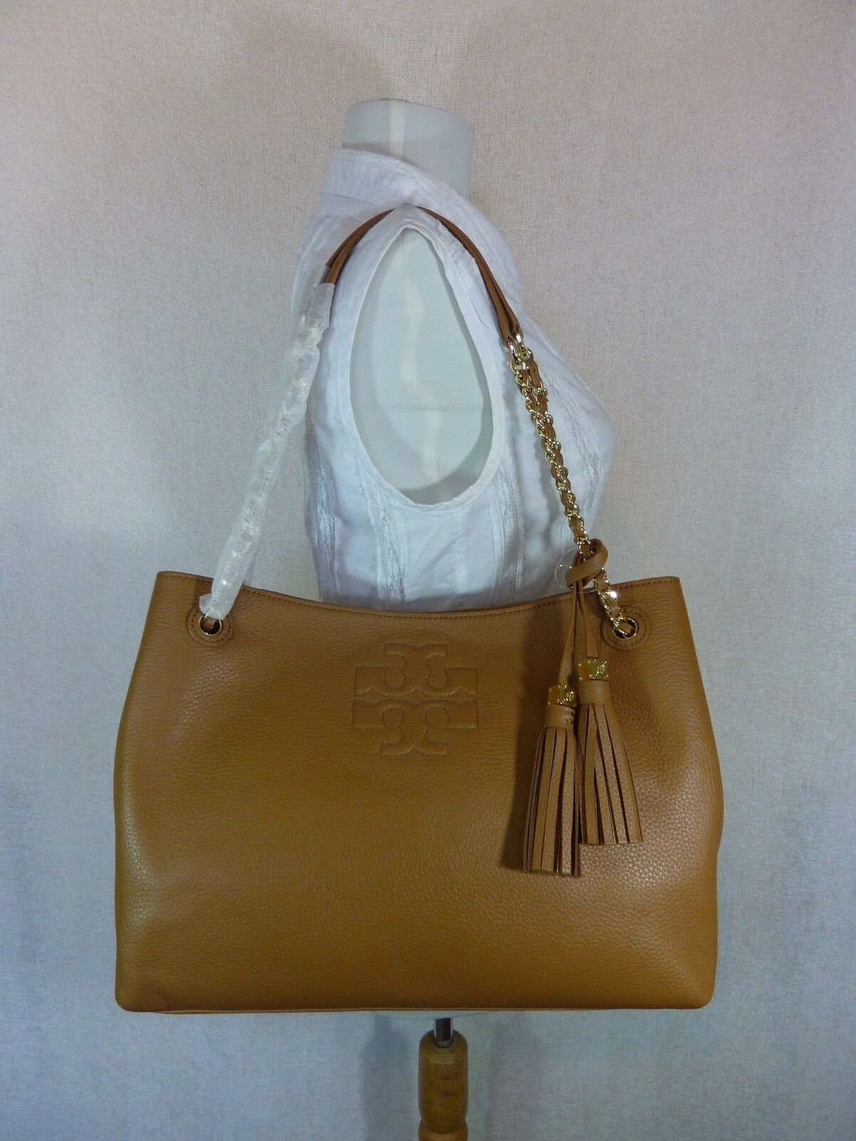NWT Tory Burch Bark Brown Pebbled Leather Thea Chain Slouchy Tote $495