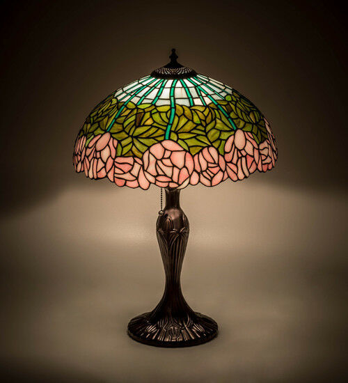 "Meyda Tiffany Cabbage Rose Table Lamp Beautiful Colors  23""H"