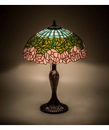 """Meyda Tiffany Cabbage Rose Table Lamp Beautiful Colors  23""""H - $424.00"""